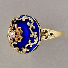 Stunning cobalt blue enamel ring from the 1940s!