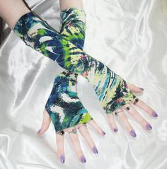 Tie dye floral abstract Arm Warmers Fingerless Gloves by Mellode