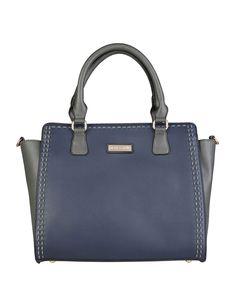 Pierre cardin - borsa a mano in eco - pelle, due manici - chiusura con zip, tracolla amovibile, due taschini interni con - Borsa a mano donna  Blu