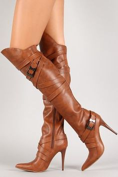 Strappy Buckle Pointy Toe Thigh High Boot