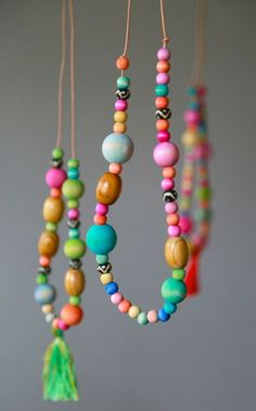 Watercolor Wooden Bead Necklaces - Aunt Peaches