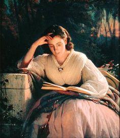 """""""Lesen"""" (Portrait der Ehefrau) (1863) von Iwan Nikolajewitsch Kramskoi (geboren am 8. Juni 1837 in Ostrogoschsk, gestorben am 5. April 1887 in Sankt Petersburg), russischer Maler, Kunstkritiker und Pädagoge."""