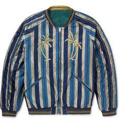 Slim-Fit Reversible Striped Cotton-Blend and Velvet Souvenir Jacket   MR PORTER
