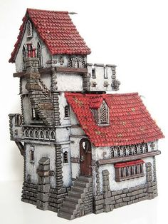 Warhammer Building idea for fairy house Casa Medieval Minecraft, Medieval Houses, Minecraft Castle, Casa Estilo Tudor, Lego Burg, Detail Architecture, Building Concept, Fantasy House, Fantasy Miniatures