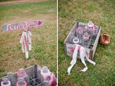 Ring toss lawn game! Love how it matches the wedding colors! // image by Rachel Peters Photography