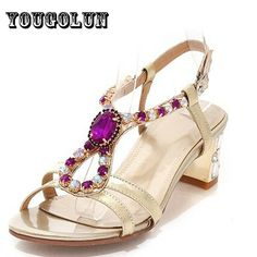 2016 new sexy Genuine Sheepskin Leather Woman Sandals Women Silver Gold Buckle Strap shoes Ladies Fashion Rhinestone high heels | Clothing Deals 4 You