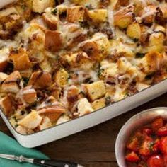 Caramelized Onion, Spinach and Gruyere Cheese Strata with Sauteed Cherry Tomatoes