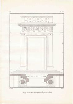 1920s Vintage Print Classical Architecture, Chancery Palace Door Vignola Home