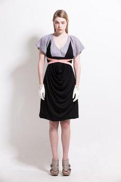 Draped satin jersey dressresort sundress by couturierholiday, $305.00