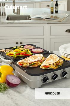 With 5 different cooking options, our Griddler is a must-have appliance for your #CincoDeMayo feast. From grilling peppers and onions to pressing cheesy quesadillas, this is the one-stop-shop of kitchen appliances! #cuisinart #savorthegoodlife #indoorgrilling #griddler