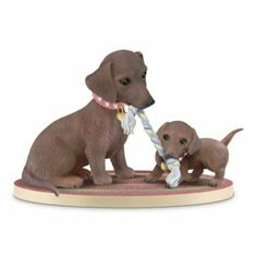 You Tug On My Heartstrings: Mother And Baby Dachshund Figurine - http://bradford-exchange.goshopinterest.com/jewelry-watches/heart-shaped/you-tug-on-my-heartstrings-mother-and-baby-dachshund-figurine/