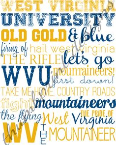 west virginia university subway art 8 x 10 digital file (ready to ship). $10.00, via Etsy.