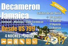 ¡Chárter a Jamaica desde Quito!!! Salidas 9, 13, 17, 21 y 25 de agosto Decameron Todo Incluido. Información y reservas a través de nuestro Chat en Línea www.costacruceros.com.ec, Call Center 062 711 838 - 022 746 066 - 062 511 248 y WhatsApp 093 999 7105 en Ecuador
