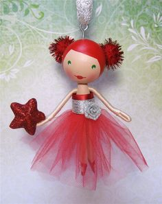 Red and Silver Sparkle Clothespin Doll Christmas Tree Ornament.