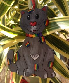 Rainbow Patches Kitty Ornament  Grey by PurpleCowArt on Etsy