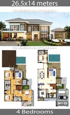 House plans idea with 4 bedrooms - Home Ideas - Dream house - Home Design Modern House Floor Plans, Simple House Plans, Luxury House Plans, Dream House Plans, Modern House Design, House Plans Mansion, Craftsman House Plans, Bedroom House Plans, House Layout Plans