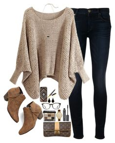 """Open sweater + booties"" by classycathleen ❤ liked on Polyvore featuring Hudson, Chicnova Fashion, Elizabeth Arden, Chelsea Crew, Louis Vuitton, Kendra Scott, Michael Kors, Bobbi Brown Cosmetics, Prada and Free People"