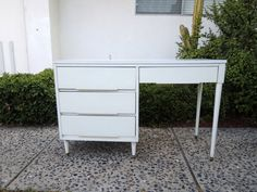 MID CENTURY MODERN 4 Drawer White Desk Los Angeles with Metal by HouseCandyLA