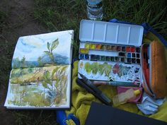 Sketching at the lake with vintage Rembrandt set of waterc… | Flickr