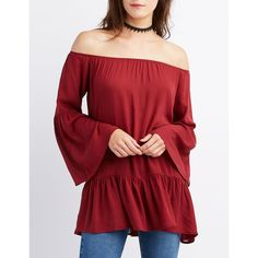 Charlotte Russe Ruffle-Trim Off-The-Shoulder Bell Sleeve Top ($22) ❤ liked on Polyvore featuring tops, burgundy, off the shoulder tops, ruffle top, off the shoulder ruffle top, off-the-shoulder ruffle tops and flared sleeve top