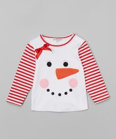 Another great find on #zulily! White & Red Snowgirl Face Tee - Infant #zulilyfinds