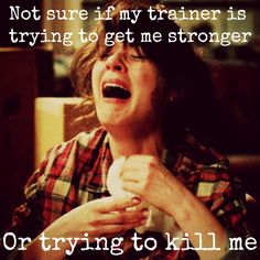 Gym Trainer Trying to kill me! For realllll! Crossfit Humor, Gym Humour, Fitness Motivation, Fitness Memes, Funny Fitness, Health Fitness, Workout Memes, Gym Memes, Muay Thai