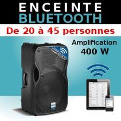 Enceinte bluetooth 400W - Location d'une enceinte Bluetooth 400W pour soirée en appartement ou salle de taille moyenne. Il suffit de connecter son ordinateur ou Ipad en bluetooth et de monter le volume pour avoir du son.