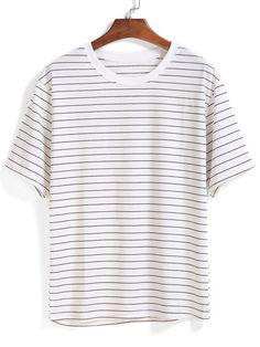 camiseta relax fit rayas-(Sheinside)