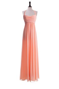 Stylish Floor Length Chiffon Dress With Haltered Neckline For Bridesmaids