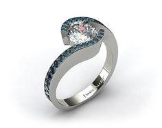 14k White Gold Bypass Pave Set Diamond Engagement Ring
