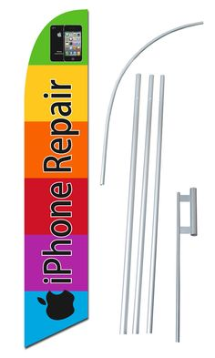 Auto Repair Deals on Wheels Open King Swooper Feather Flag Sign Kit with Complete Hybrid Pole Set Pack of 3