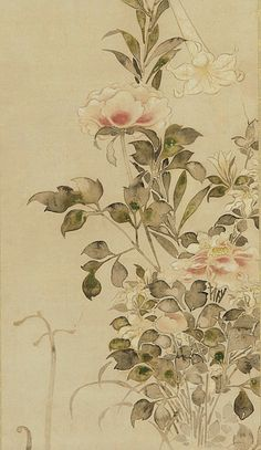 Tawaraya Sotatsu Peonies and Lilies (detail) 1568-1615