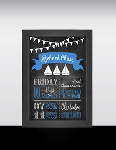Chalkboard Birth Announcement, Boy Nursery, Baby Stats, Birth Announcement Wall Art, Personalized, Blue