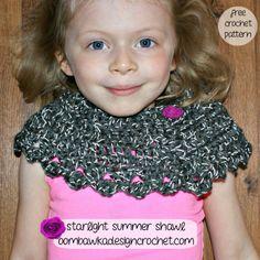 Starlight Summer Shawl - Free Crochet Pattern - Designed with Red Heart Reflective Yarn #crochet #freepattern #diy