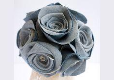 Valentine Large flower hair clip, Soft Upcycled Denim Rose Clip, Brooch, Fascinator