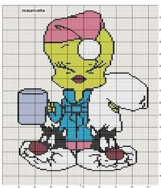 cross stitch children graphics - Tweety wearing Sylvester slippers