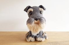 Amigurumi: free crochet pattern for a realistic Schnauzer dog with handmade fur--how to make fur