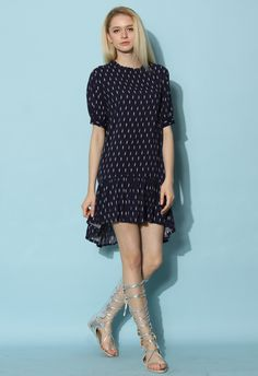 Feathers Ruffled Hi-lo Dress in Navy - Dress - Retro, Indie and Unique Fashion