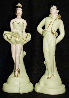 Delcraft, Circa '50s - Chalkware Ballet Dancer Figures