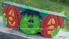 14003 Franklin & Friends Decorative Painting by OilCreekOriginals - New Ideas Painted Bricks Crafts, Brick Crafts, Painted Pavers, Cement Crafts, Painted Rocks, Brick Projects, Diy Projects, Fall Halloween, Halloween Crafts