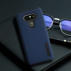 LG G5 cover -  matte navy hybrid drop case cover w FREE glass screen protector