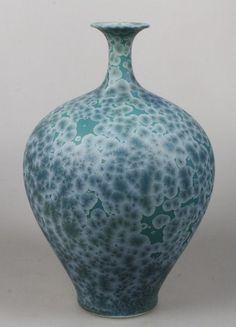 Hein Severijns - porseleinen vaas met groen/blauw kristalglazuur
