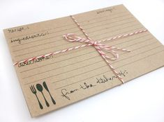 kraft paper + twine recipe cards (by oh hello magpie) #handmade #bridal-shower