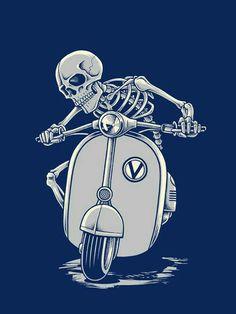 skeleton riding a Vespa scooter Vespa T Shirt, Desenho Tattoo, Motorcycle Art, Skull Design, Skull And Bones, Skull Art, Oeuvre D'art, Pop Art, Graffiti