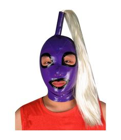 100/% Latex Rubber Gummi Inflatable Mask Hood 0.8mm With Tube Red Catsuit Deluxe