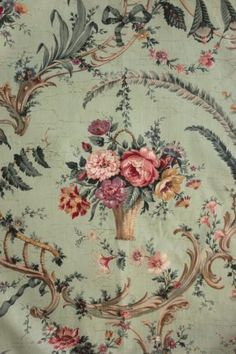 Mid French Chintz fabric celedon background, Pillement inspired, rococo and floral basket design. French Country Fabric, French Fabric, Vintage Floral Fabric, Vintage Textiles, Fabric Decor, Fabric Design, Chintz Fabric, Victorian Wallpaper, Shabby Chic