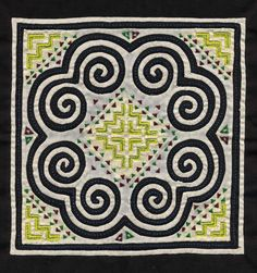 "Hmong reverse applique by unknown artist, cm. The main motif utilized is the elephant's foot. Within it is a mirrored step motif repeated four times, creating a house motif. This motif was seen in the episode of ""Stitching our Stories"" that we watched. Hmong Tattoo, Tantra, Hmong Wedding, Hmong People, Reverse Applique, Textiles, Textile Fiber Art, Symbol Design, Applique Quilts"