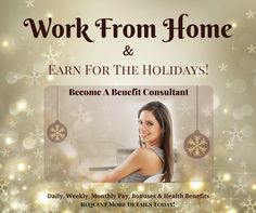 Work from home and earn money for the holidays! No cold calling, No home parties. Daily, weekly, monthly pay. Residual, bonuses & family health benefits.Click to request details...