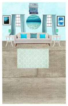 Cool Beach by rebekah-vera on Polyvore featuring interior, interiors, interior design, home, home decor, interior decorating, Rizzy Home, Southern Tide, Americanflat and NOVICA