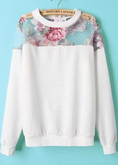 Floral Printed Pullover Mesh Shoulder Top from Harper & Lily. Saved to sweater weather. Look Fashion, Winter Fashion, Womens Fashion, Floral Fashion, Mode Style, Style Me, Mode Outfits, Casual Outfits, Pullover Outfit